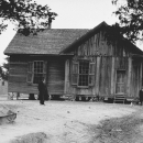 The Quaker school building in 1916, view south